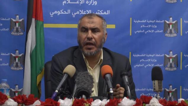 نائب وزير خارجية حماس غازي حماد (من شاشة اليوتوب)