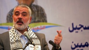 رئيس الحكومة الفلسطيني اسماعيل هنية خلال خطاب القاه نوفمبر الماضي في غزة (بعدسة عبد الريهام خطيب/ فلاش 90)