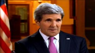 جون كيري في لقاء مع القناة الثانية الاسرائيلية 20.02.2014 (من شاشة القناة الثانية)