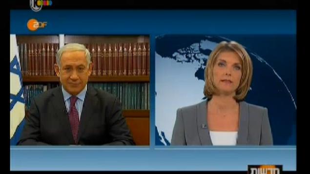 رئيس وزراء اسرائيل بنيامين نتنياهو في لقاء مع التلفزيون الالماني (من شاشة القناة العاشرة الاسرائيلية)