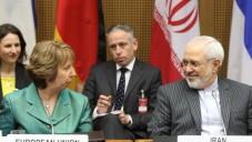 محمد جواد ظريف وكاثرين اشتون في اليوم الاول من الجولة الثانية للمحادثات في فيينا ١٨ مارس ٢٠١٤ (بعدست ديتر ناجل/ أ ف ب)
