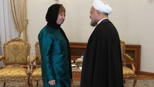 الرئيس الايراني حسن روحاني في لقائه مع وزيرة خارجية الاتحاد الاوروبي كاثرين اشتون 9 مارس 2014 (أ ف ب طريق مكتب الرئيس الايراني)