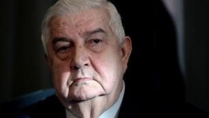 وزير الخارجية السوري وليد المعلم في موسكو ١٧ يناير ٢٠١٤ (أ ف ب)