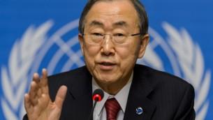 امين عام الامم المتحدة بان كي مون الاثنين في جنيف 03.03.2014 (أ ف ب)
