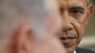اوباما ونتاياهو في لقائهما في البيت الابيض ٣ مارس ٢٠١٤ (أ ف ب)