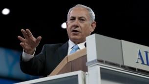 نتانياهو في خطاب ايباك امس ٤.٣.٢١٠٤ في واشنطن (أ ف ب)