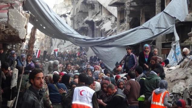 طرد الفلسطينيون من مخيم اليرموك  ٢ فبراير ٢٠١٤ (أ ف ب/ اونوروا)