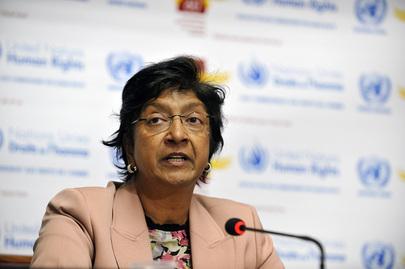 المفوضة السامية لحقوق الانسان في الامم المتحدة نافي بيلاري في مؤتمر صحفي 2 اوكتبر 2008 جنيفا سويسرا (الامم المتحدة ارشيف)