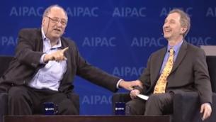 رئيس هيئة تحرير ومؤسس تايمز أوف اسرائيل دافيد هوروفيتس مع يوسي فاردي في ايباك (مقدمة من ايباك)