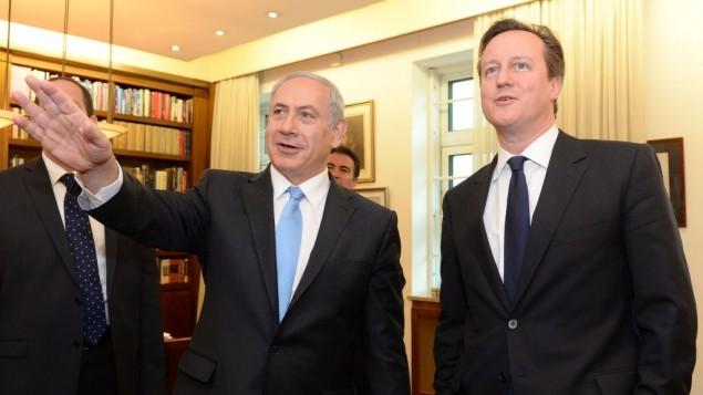 بنيامين نتانياهو مع ديفيد كاميرون في القدس، 12 مارس 2014 (Kobi Gideon/GPO/Flash 90)