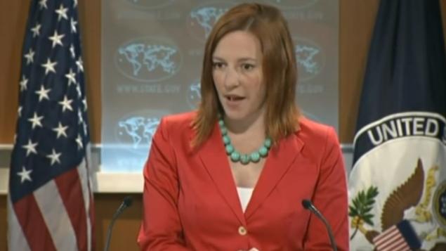 المتحدثة بلسان الخارجية الامريكية جين باسكي (من شاشة اليوتيوب)