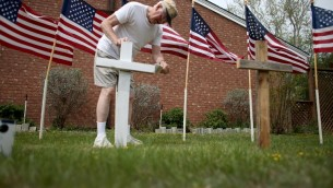التحضيرات لبناء نصب تذكاري في فورت هود لضحايا اطلاق النار ٣ ابريل ٢٠١٤ (جو بايدل/ جيتتي/ أ ف ب)
