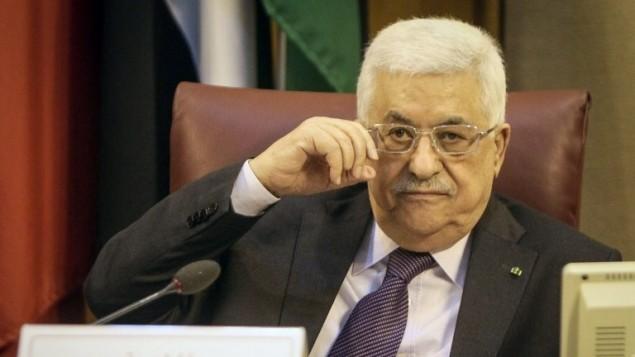 رئيس السلطة الفلسطينية محمود عباس في لقاء الجامعة العربية ٩في القاهرة  ابريل ٢٠١٤ (محمد الشاهد/ أ ف ب)