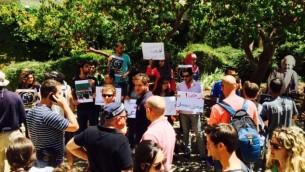 طلاب يتظاهرون ضد التجنيد للعرب المسيحيين في الجامعة العبرية في القدس ٢٩ ابريل ٢٠١٤ (مقدمة من حلا مرشود)