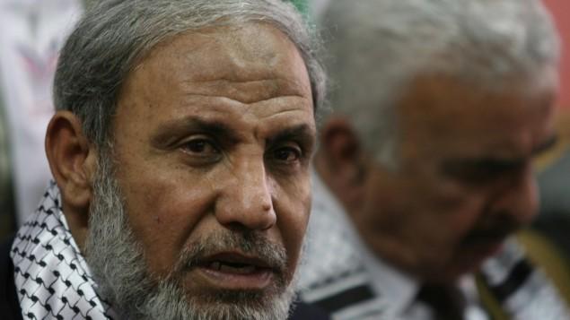 محمود الزهار في مؤتمر صحفي عام 2008 (Wissam Nassar/Flash90)