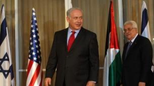 رئيس الوزراء بنيامين نتانيهو ورئيس السلطة محمود عباس في مقر رئيس الوزراء في القدس ٢٠١٠ (كوبي جدعون/ فلاش ٩٠)