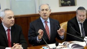 بنيامين نتانياهو اثناء اجتماع الكبينت الامني ٣٠ مارس ٢٠١٤ (داني ميرون/ فلاش ٩٠)