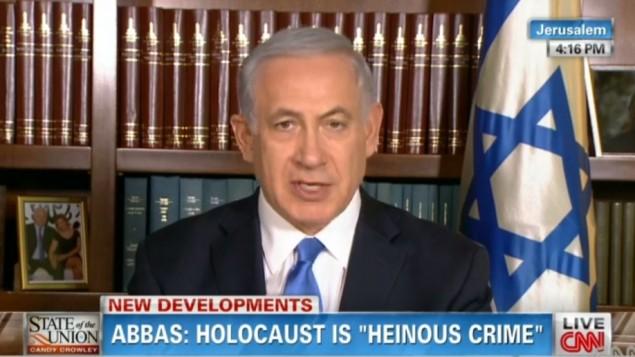 بنيامين نتانياهو في مقابلة مع السي ان ان اليوم الاحد  (صورة شاشة)
