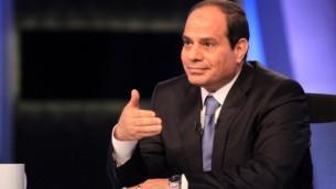 قائد الجيش السابق في مصر ومرشح الرئاسة عبد الفتاح سيسي يعطي أول مقابلة تلفزيونية له منذ اعلان ترشيحه في القاهرة في 4 مايو 2014 (AFP / STR).