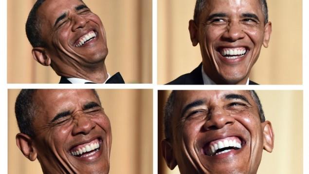 هذا المزيج من الصور يظهر الرئيس الأمريكي باراك أوباما يضحك وهو الاستماع الممثل والكوميدي جويل مكهيل 3 مايو 2014 في واشنطن العاصمة. AFP PHOTO