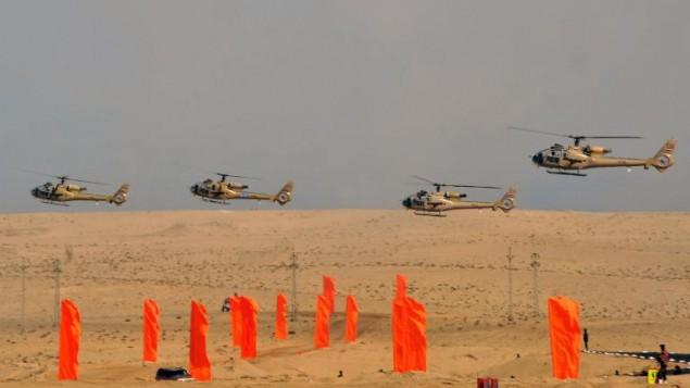 طائرات مروحية مصرية في شبه جزيرة سيناء (Egyptian Presidency/AFP)