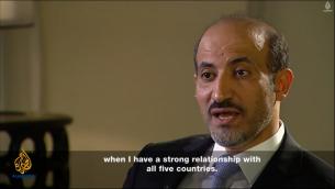 رئيس الائتلاف السوري المعارض احمد الجربا (من شاشة الجزيرة)