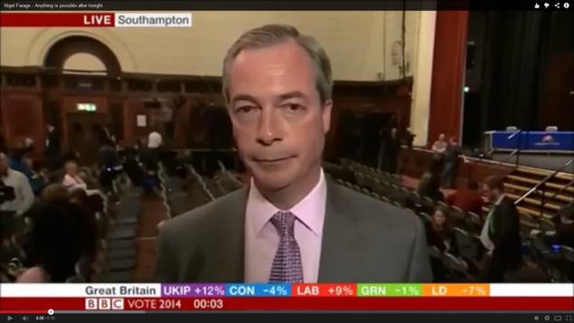 نايجل فرج من حزب الاستقلال في المملكة المتحدة بريطانيا  الأحد، 25 مايو، 2014. من شاشة اليوتوب