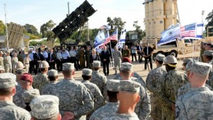 """وزير الدفاع الامريكي تشاك هيغل يلقي كلمة امام جنود اسرائيليون وامريكيون أثناء التدريب المشترك """"جيوبتر كوبرا"""" (Matty Stern/US Embassy/FLASH90)"""