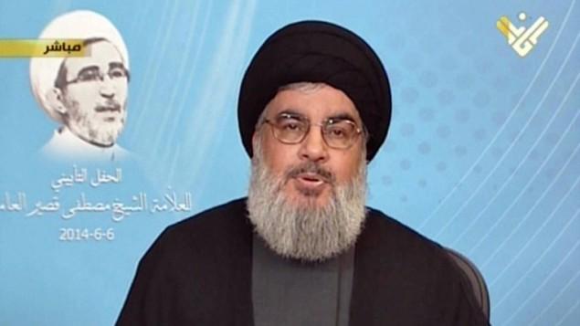 امين عام حزب الله حسن نصرالله في خطاب عبر تلفزيون المنار (المنار/ أ ف ب)
