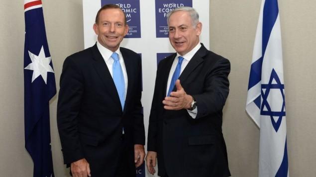رئيس الوزراء الاسرائيلي بنيامين نتنياهو مع رئيس الوزراء الاسترالي توني ابوت في منتدى الاقتصاد العالمي ٢٤ يناير ٢٠١٤ (فلاش ٩٠)