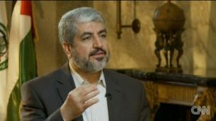 خالد مشعل في مقابلة مع قناة سي ان ان ٢٠١٢ (screen capture/cnn.com)