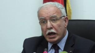 وزير الخارجية الفلسطيني رياض المالكي (عصام ريماوي/ فلاش 90)