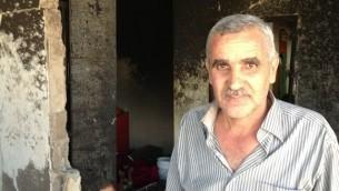 محمد ابو عيشة، عم المشتبه به عامر ابو عيشة (بعدسة الحانان ميلر/ طاقم تايمز أوف إسرائيل)