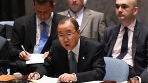 امين الامم المتحدة بان كي مون يخطب امام مجلس الامن التابع للامم المتحدة في اجتماع طارئ عقد بخصوص الاوضاع في الشرق الاوسط 10 يوليو 2014  Don Emmert/AFP