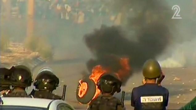 اشتباكات في طمرة الاحد (من شاشة القناة الثانية)
