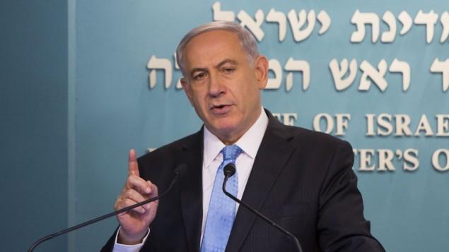 رئيس الوزراء بنيامين نتنياهو يتحدث في مؤتمر صحفي, مكتب رئيس الوزراء في القدس . الأربعاء 27 أغسطس، 2014  (فلاش 90)