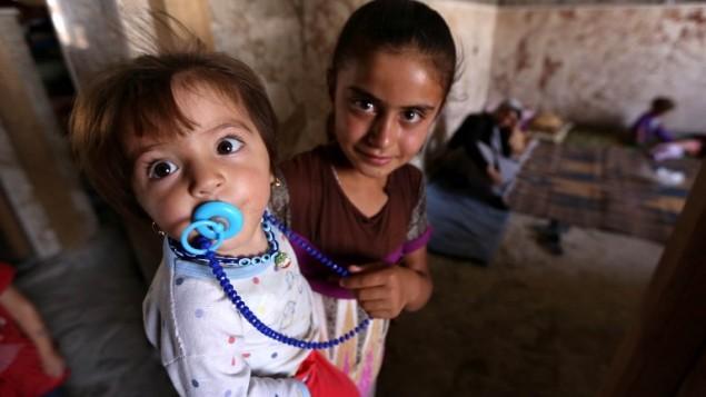 اطفال يزيديون عراقيون فروا من العنف في بلدة سنجار شمال العراق مع أسرهم   5 أغسطس 2014   AFP/SAFIN HAMED