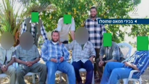 رؤساء حماس، بينهم محمد ابو شمالي ورائد عطار. الاثنان قتلا في 20 اغسطس بغارة استهدفتهما (من شاشة القناة الثانية)