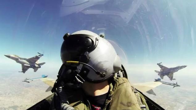 IAF pilot during a flight (screen capture: YouTube/Israel Defense Forces)