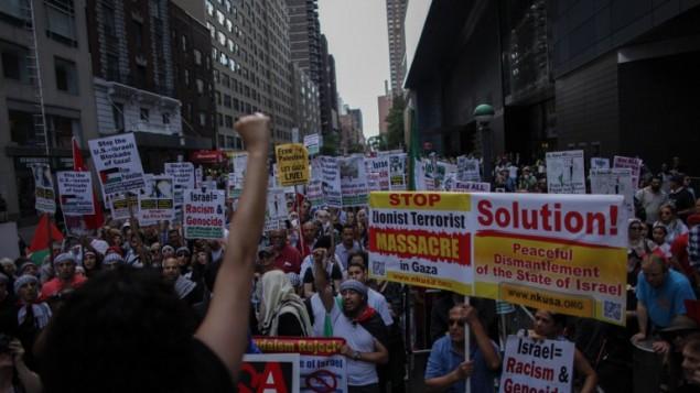 مسيرة مناهضة للهجوم الاسرائيلي على غزة في مدينة نيو يورك, 9 اغسطس 2014 Kena Betancur/Getty Images/AFP