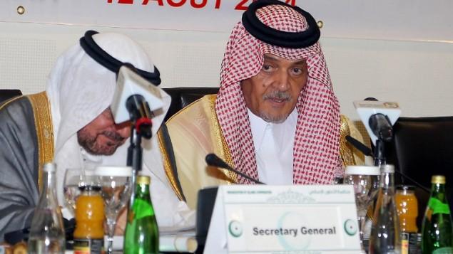 وزير الخارجية السعودي الأمير سعود الفيصل، يحضر اجتماع وزاري لمنظمة التعاون الإسلامي، لمناقشة التطورات في قطاع غزة 12 أغسطس 2014 في مدينة جدة.AFP/STR