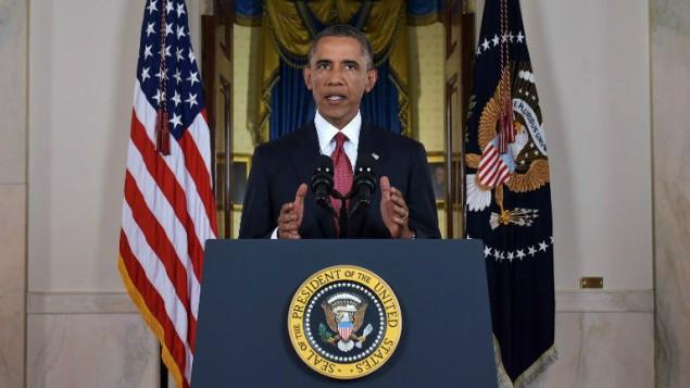 الرئيس الامريكي اثناء خطابه للامة 10 سبتمبر 2014   AFP/Saul Loeb, Pool