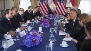 الرئيس الأمريكي باراك أوباما  يجتمع مع الرئيس المصري عبد الفتاح السيسي  في نيويورك، 25 سبتمبر، 2014 (AFP PHOTO / Saul LOEB)
