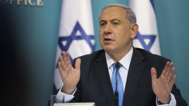 رئيس الوزراء بنيامين نتنياهو في مؤتمر صحفي عقده في مكتبه في القدس 27 أغسطس 2014  Yonatan Sindel/Flash90