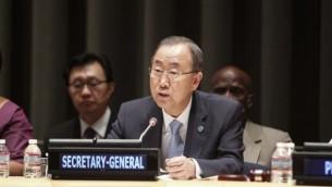 بان كي مون يتحدث امام الامم المتحدة سبتمبر  9, 2014. (photo credit: UN/Loey Felipe)