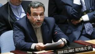 نائب وزير الخارجية الإيراني عباس عراقجي سيد خلال اجتماع  مجلس الأمن للأمم المتحدة  19 سبتمبر 2014  في مدينة نيويورك  Eduardo Munoz Alvarez/Getty Images/AFP