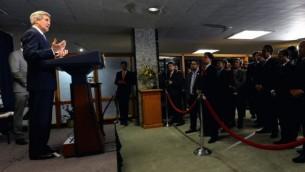 وزير الخارجية الامريكية جون كيري يتحدث خلال حفل استقبال الحجاج المسلمون بعد انهاء الحج  16 أكتوبر عام 2014، في وزارة الخارجية في واشنطن،  State Department/Flickr