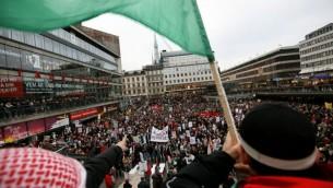 صورة توضيحية لمظاهرة مؤيدة لفلسطين في ستوكهولم، السويد 2012 (ميريام الستير/ فلاش 90)