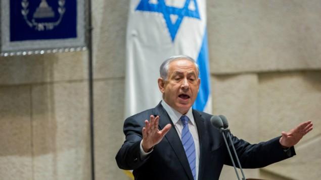 بنيامين نتنياهو امام الكنيست، البرلمان الإسرائيلي، في افتتاح الدورة الشتوية  27 أكتوبر، 2014  Yonatan Sindel/Flash90