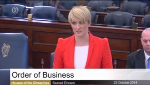 السيناتور الايرلندية افيريل باور تتحدث امام السينات في دبلين 22 اوكتوبر 2014   (من شاشة اليوتوب)